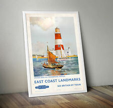 Vintage Railway Travel Poster - Orford Ness Suffolk East Coast Landmarks- A4