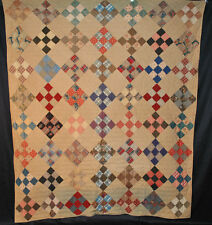 """ANTIQUE QUILT c1870's NINE PATCH PATCHWORK COUNTRY COTTON 81-1/2"""" x 72"""" QUILTED"""