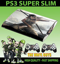PLAYSTATION PS3 SUPER SLIM LARA CROFT TOMB RAIDER SKIN STICKER & 2 X PAD SKINS