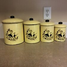 Vintage 4 pc. Decal 1930's Tin Canister Set Rustic