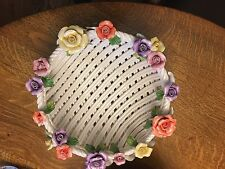 Porcelain Woven Basket  With purple, orange and yellow flowers