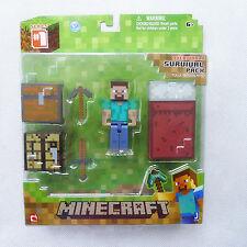 """Original Minecraft Overworld 3"""" Actionfigur Steve Survival Pack Neu ungeöffnet"""