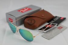 Ray-Ban Aviator Sunglasses Matte Gold Frame RB3025 112/19 Green Mirror Lens 58mm