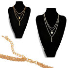 Lovely Chic Silver & Gold Chain Necklace 3 Layers Charms Lolita Simple Jewelry