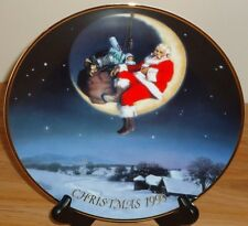 GREETINGS FROM SANTA Christmas 1998 collector's plate by AVON Santa on MOON