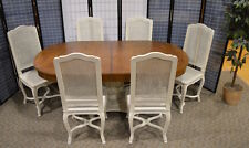 Vintage Shabby Cottage Chic Country French Pedestal Table w/Leaf & 6 Chairs