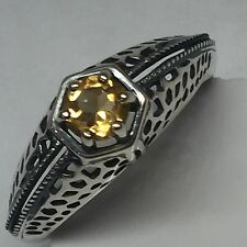 Natural Golden Citrine 925 Sterling Silver Filigree Art Deco Ring sz 8