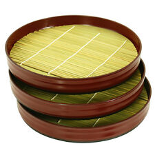 "Set of 3 Japanese 8""D Lacquer Sushi Zaru Soba Trays w/ Bamboo Mat, Made in Japan"