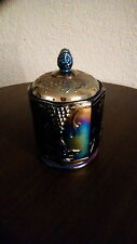 Indiana Glass Harvest Grape iridescent blue carnival canister, jar with lid