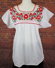 WHITE PEASANT PUEBLA HAND EMBROIDERED MEXICAN BLOUSE TOP TUNIC MEDIUM