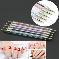 5Pcs/set Crystal Rhinestone Nail Art Pen Dotting Painting Drawing Pen Brush Tool