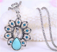 Tibet Silver Hollow Flower Crystal Turquoise peacock Shaped Pendant Necklace