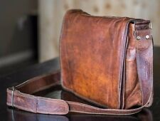"15"" Men's Vintage Brown Leather Full Flap Messenger Laptop Satchel Shoulder Bag"