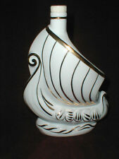 Limoges Larsen Cognac (empty) Gilt White Porcelain Viking Ship Bottle