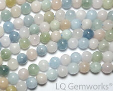 "15"" Blue AQUAMARINE Pink MORGANITE BERYL 6mm Round Beads NATURAL /B6"