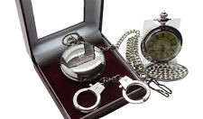 HMP PRISON Pocket Watch Jail Warden Officer Luxury Gift  Set Handcuffs Keyring