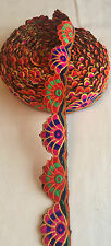 9 Meter Indian Panki Thread Embroidery Lace Ethnic Ribbon Craft  Border