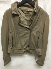 Muubaa Women's Fawn Grey/Brown Biker Leather Jacket. RRP £299. UK 10.
