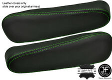GREEN  STITCH 2X SEAT ARMREST LEATHER COVERS FITS HONDA CRV CR-V 2007-2011