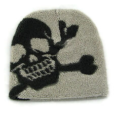 Gray Skull And Crossbones Skull Beanie Warm Thick & Chunky Ski Cap Punk Cozy Hat