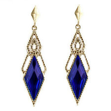 Vintage Style Gold & Dark Royal Blue Long Drop Stud Earrings E857