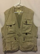 Eddie Bauer Men's Hunting Fishing Outdoor Vest Khaki Size Large Mesh Back GUC