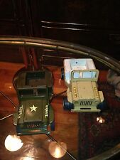 2 Vintage Tonka Jeeps Green And Tan As Is
