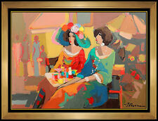 Isaac Maimon Original Oil PAINTING on Canvas Signed Artwork Women Cafe Portrait