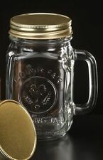 12 MASON JARS W/HANDLE & LIDS 16 OZ COUNTRY, RUSTIC WEDDING BRIDAL SET #97085