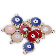 10x Mix Color Enamel&Gold Plated Alloy Evil Eye Connector Pendants Accessories D