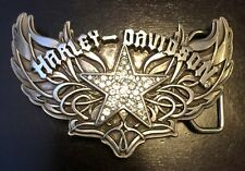 "HARLEY DAVIDSON BLING BELT Buckle ""CHROME STAR W RHINESTONES"" 97703-09VW"