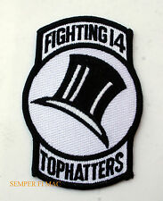 FIGHTING 14 US NAVY VF-14 TOPHATTERS BABY F-14 TOMCAT USS PATCH PIN UP OLDEST