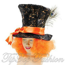 New Mad Hatter Top Hat with Hair Alice in Wonderland Costume Mens Accessory