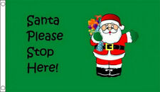 3' x 2' SANTA PLEASE STOP HERE FLAG Father Christmas Happy Merry Xmas Party