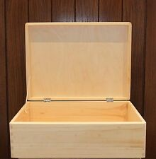 Large Wooden chest keepsake decoupage storage box plain pine 40x30x14cm SD140B