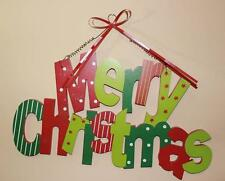 """Merry Christmas Sign Door Decor Wreath Decor Wall Hanging Green 24"""" Large New"""