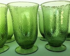 """8 Green hand blown footed bubble glass water/tea glasses 6""""tall 16oz vtg"""