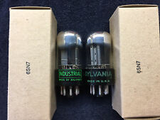 2 NOS Matched Sylvania 6SN7GTB Chrome Dome Audio Tubes USA