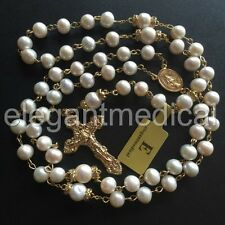 CATHOLIC GLOD REAL AAA PEARL BEADS NECKLACE ROSE 5 DECADE ROSARY CRUCIFIX & BOX