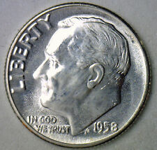 1958 Silver UNCIRCULATED BU Roosevelt Dime Ten Cent Coin from Nice 10c Roll #R