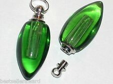 1 Small glass Bullet locket pendant Green vial oil perfume bottle SCREW CAP