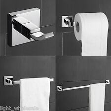 Modern 4-Piece Bath Bathroom Sets Robe Hook Toilet Paper Holder Towel Ring/Bar