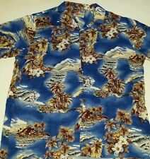 Hilo Hattie Hawaiian Style Button Front Shirt Mens XXL guitar canoe Island scene