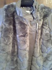 NEW IMAN Platinum Genuine Leather-Faux Fur Glam Moto Jacket Women 3X Taupe/Gray