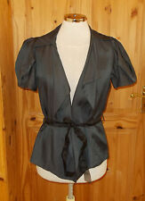 OASIS charcoal black short puff sleeve LINEN jacket top STEAMPUNK VICTORIANA 10