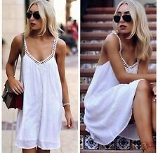 ZARA NEW WHITE SHORT EMBROIDERED STRAPPY DRESS SIZE S