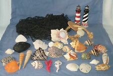 Lg Lot of Nautical Marine Hanging Fishing Fish Net & Sea Shells Decor Wall Art