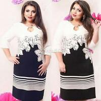 Sexy Women Striped Floral Dress Cocktail Party 3/4 Sleeve Bodycon Plus Size Lady