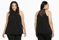 New TORRID sz 2 (2X 18/20) Black Sequin/Beaded Mock Neck Halter Tank Top NWT