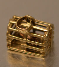 14k GOLD VINTAGE CAGE WITH LOOSE LOBSTER MOVING CHARM PENDANT